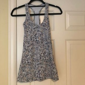 Lululemon Gray Floral Racebank Stretch Tank